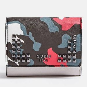 Guess Gabi Camoflage Trifold Studded Wallet